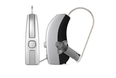 Widex Beyond hearing aids silver and black