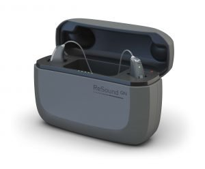 Pair of ReSound LiNX Quattro hearing aids with rechargeable hearing aid case