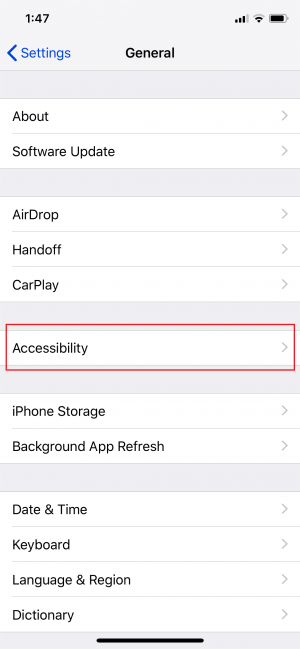 Troubleshooting step 1 - Accessibility section