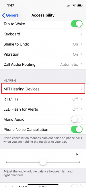Troubleshooting step 1 - MFi Hearing Devices Section